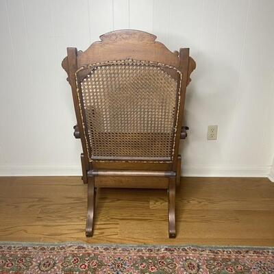 Gorgeous Vintage Wood Cane Reclining Adjustable Chair