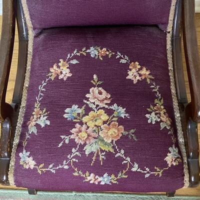 Vintage Wood & Embroidered / Needlepoint Rocker