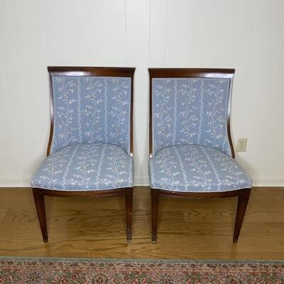 Pair of Blue Floral Print Wood Chairs