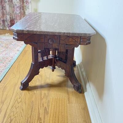 Carved Wood Occasional Table with Marble Top (Eastlake?)