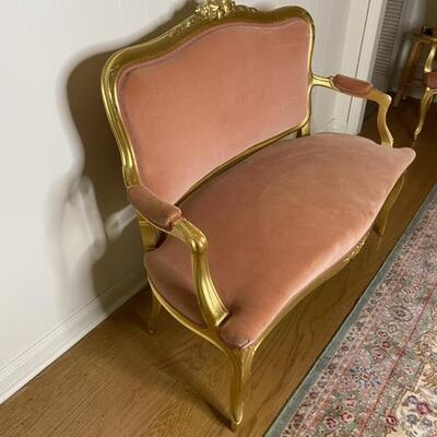 4 Pc Pink Velvet / Gold Wood Parlor Set