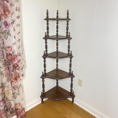Wood Corner Tier Spindal Stand with 5 Shelves
