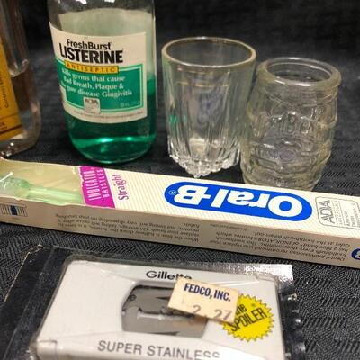 Vintage personal grooming products: razor blades mineral oil  Band-Aids