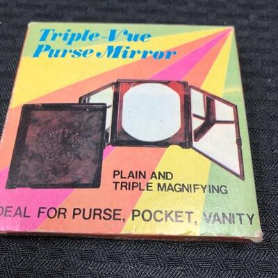 Triple Vue Purse Mirror in box - plain and triple magnifying