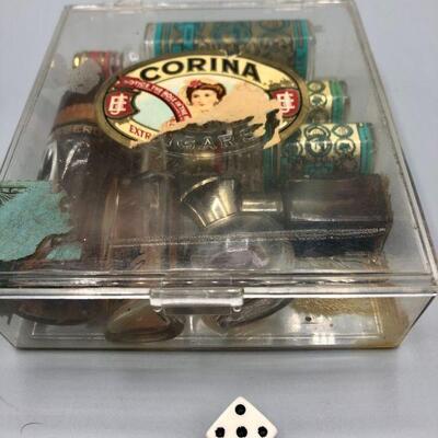 Plastic Cigar Box of Vintage Perfume Miniatures