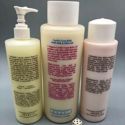 I. Magnin Hand Soap, Castile Foam Bath, & Skin Balm Full Bottles