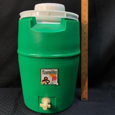 "Vintage ""Family 10"" 9.4 L Water Dispenser Lime Green 1970s"