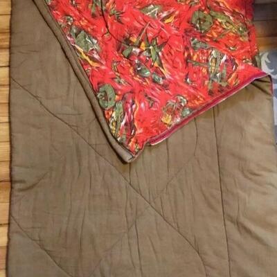 Vintage Coleman Duck Fish Tent Hunting Flannel Green Sleeping Bag