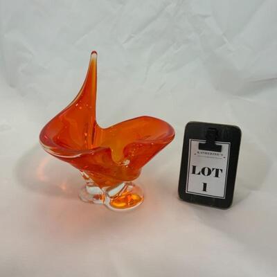.1. Chalet Glass Three-Armed Bowl   MCM