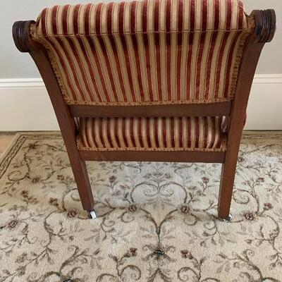 Antique Corner chair Nice Fabric and Lots of Detail in Woodwork, see Description!!!