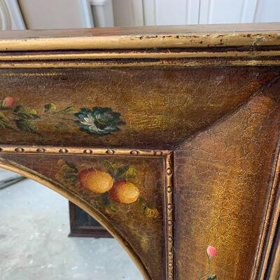 Awesome vintage Hand Painted Oval Beveled Mirror in Rectangular Frame