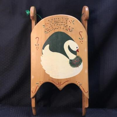 Hand Painted Wooden Hanging Christmas Sled by J.D.I.