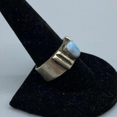 Old Pawn Sterling Silver & Pale Blue Opal Men's Ring