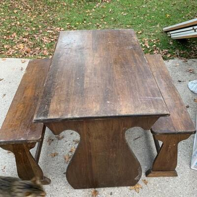 Vintage Child's Table and 2 Benches
