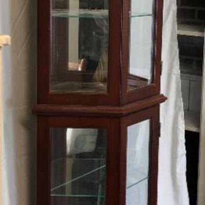 Wood and Glass Lighted Curio Cabinet LOCAL PICKUP ONLY