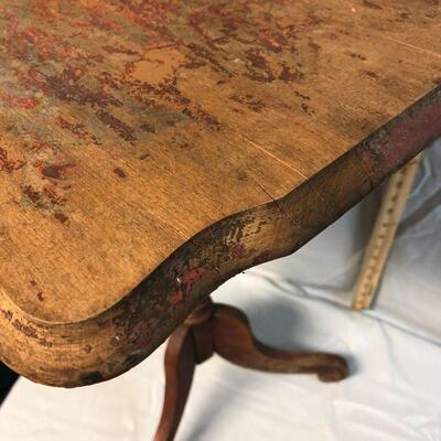 Vintage Small Solid Wood Tilt Top Side Table LOCAL PICKUP ONLY