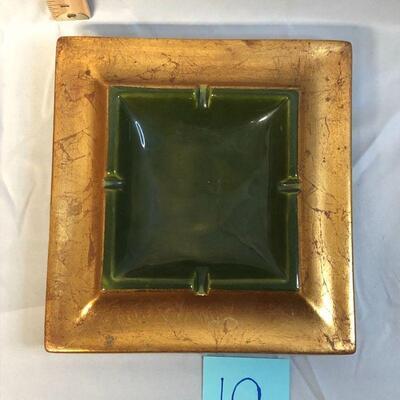 Gold and Dark Green Freeman McFarlin Ashtray