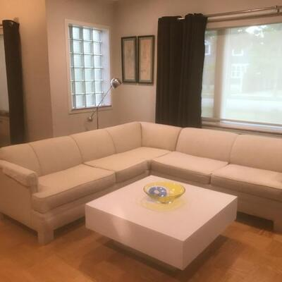 MidCentury Linen L-Shaped Couch 90 1/2