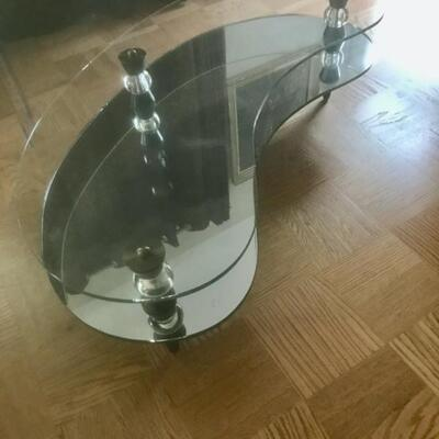 RARE 1956 Semon Bach & Co NYC Kidney  Shaped Glass and MIrror Coffee Table 14