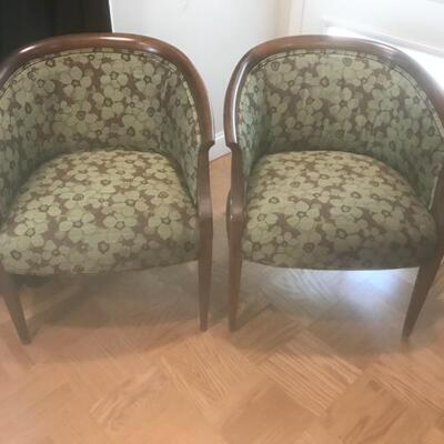 PAIR Green Floral Side Chairs $190 pair