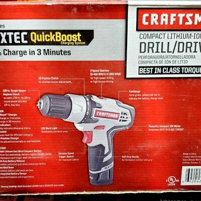 CRAFTSMAN 12 VOLT LITHIUM-ION COMPACT DRILL *NEW*