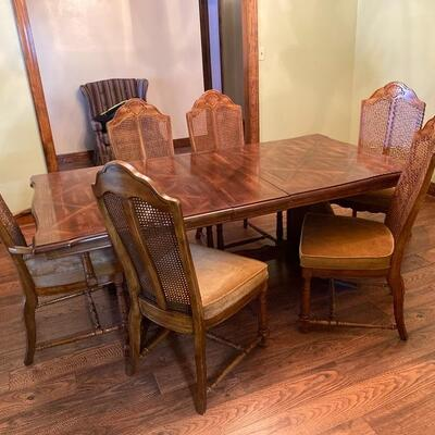 Solid Wood Trestle Dining Room Table with 8 Cain Chairs and 2 Leaves