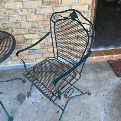 Metal Outdoor Table and Two Chairs