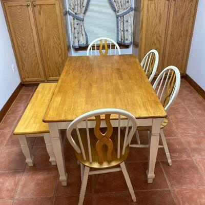 Solid Wood Rectangle Dining Table with 4 Chairs and Bench