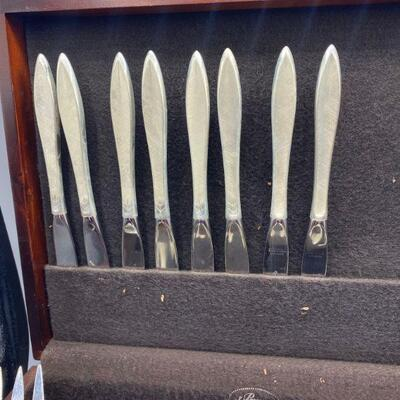 Vintage 1965 Gorham Sterling Silver GOSSAMER Flatware in Box Service for 8 + 3 Serving Pieces