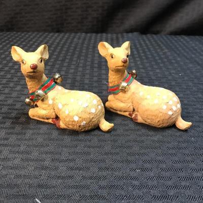 Lot of 2 Reindeer Figurines w. Jingle Collars