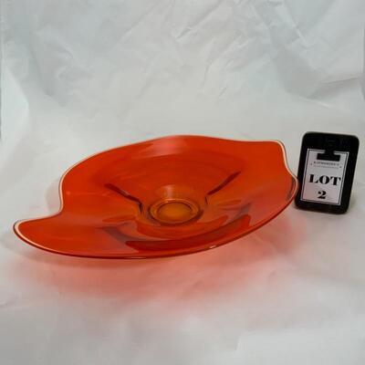 .2. Vintage   Viking Orange Glass Platter   Persimmon