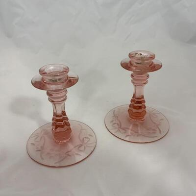.4. Antique   30s Two Kids Flower Frog   Console Bowl   Candlesticks