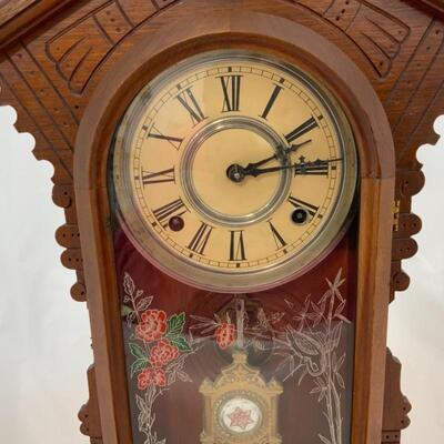 .12. Antique   Victorian Gingerbread Mantle Clock   Dated 1884   Runs