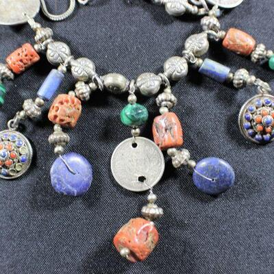 LOT#5: Marked Sterling Indian Beaded Necklace