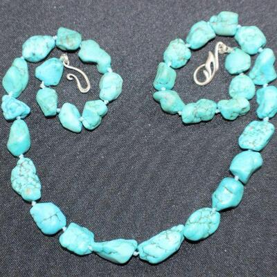 LOT#6: Marked .925 Chunky Turquoise Necklace