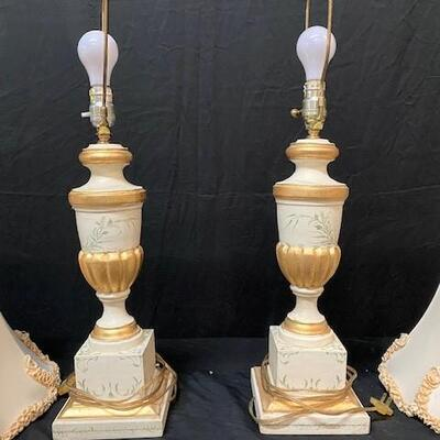 LOT#8: 2 Painted Wooden Gilted Lamps