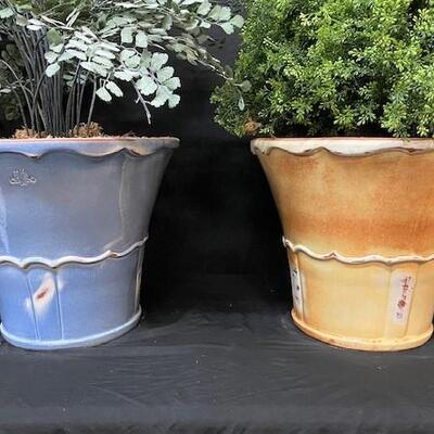 LOT#18: Pair of Classico Vase/Planter Lot with Faux Plants