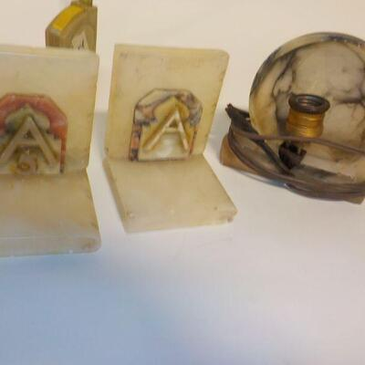 2- Marble Book Ends and Reflection night light.