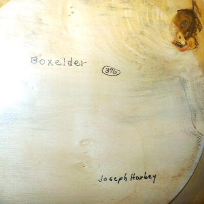 ' hand made 18in wood bowl/ signed.