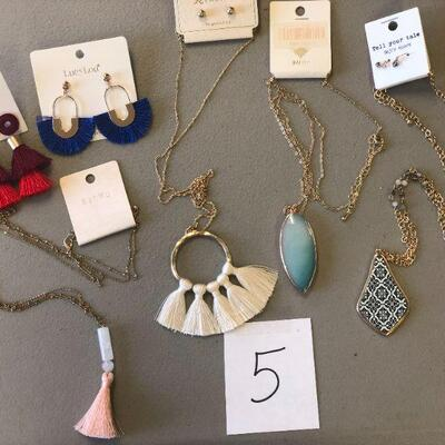 Lot 5 Two Pair of NWT Earrings & Four Necklaces
