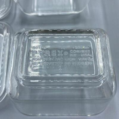 Vintage Clear Pyrex Refrigerator Dishes Ribbed Lids Complete Set YD#011-1120-00061