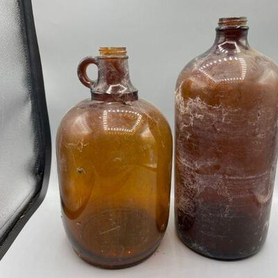 Antique Brown Glass Whiskey Jug Bottles