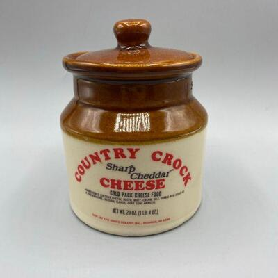 Vintage Country Crock Sharp Cheddar Cheese Lidded Canister Crock YD#011-1120-00201