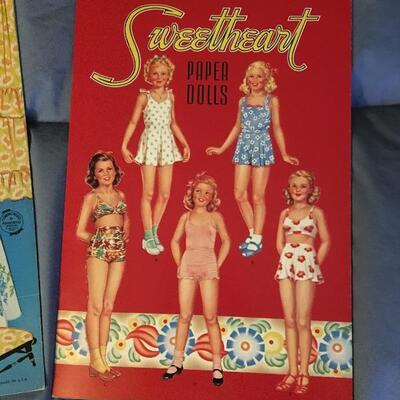 Collection of 9 Vintage Paper Doll Sets