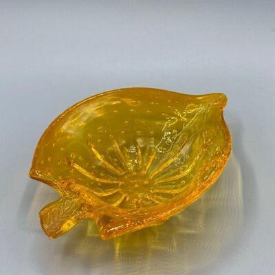 Marigold Yellow Leaf Shaped Bubble Glass Dish YD#011-1120-00203