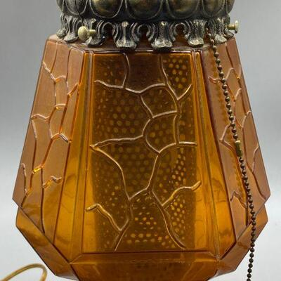 Vintage Mid Century Amber Glass with Diffuser Swag Hanging Lamp 011-1120-00215