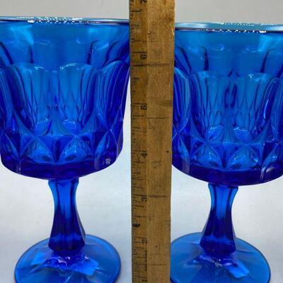 Set of 8 Vintage True Blue Noritake Perspective Pressed Glass Goblets Glasses YD#013-1120-00034