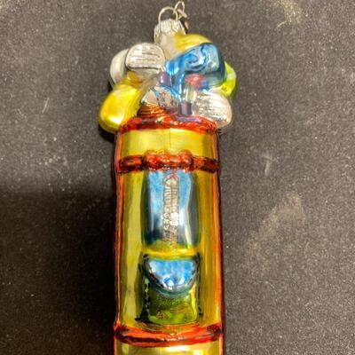 Dept 56 Mercury Glass Ornament Golf Bag and Clubs