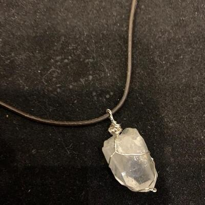 Leather Necklace with attached Crystal