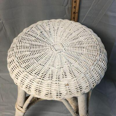 White Wicker Vanity Stool LOCAL PICKUP ONLY